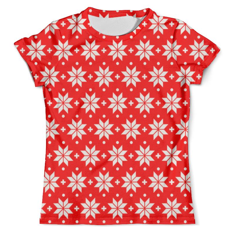 Футболка с полной запечаткой (мужская) Printio Красно-белый узор футболка с полной запечаткой для девочек printio красно белый узор