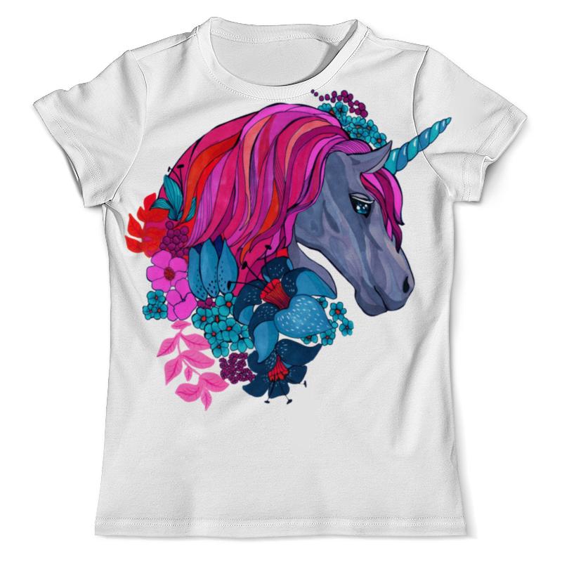Футболка с полной запечаткой (мужская) Printio Единорог с розовыми волосами в цветах детская футболка классическая унисекс printio единорог с розовыми волосами в цветах