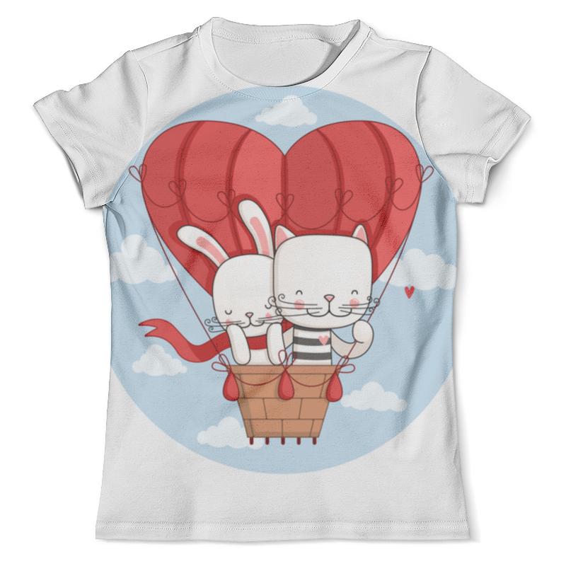 Футболка с полной запечаткой (мужская) Printio Кот и зайка на воздушном шаре. парные футболки. футболки