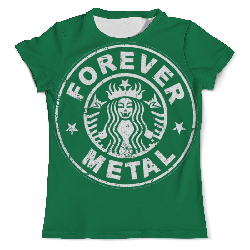 Футболка с полной запечаткой (мужская) Printio Starbucks / forever metal