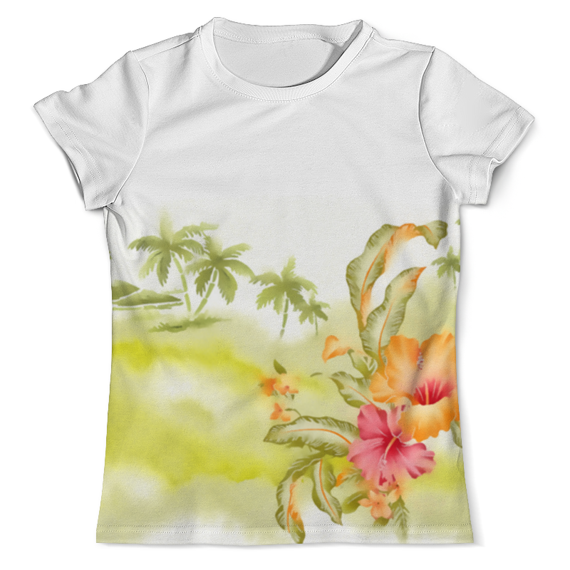 Футболка с полной запечаткой (мужская) Printio Тропические цветы, пальмы. блокнот printio тропические цветы пальмы