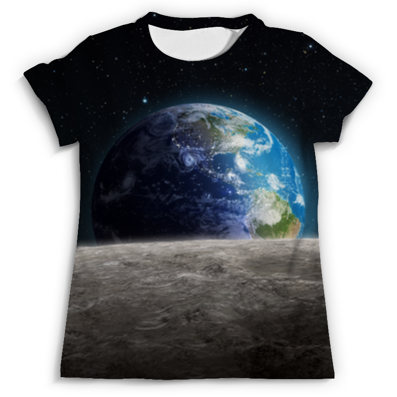 Футболка с полной запечаткой (мужская) Printio Земля с луны тамоников а холодный свет луны