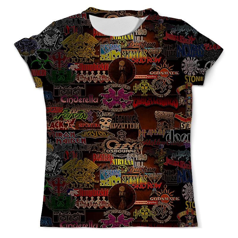 Футболка с полной запечаткой (мужская) Printio Стикеры. рок-группы футболка с полной запечаткой мужская printio мерч группы devil s secrets
