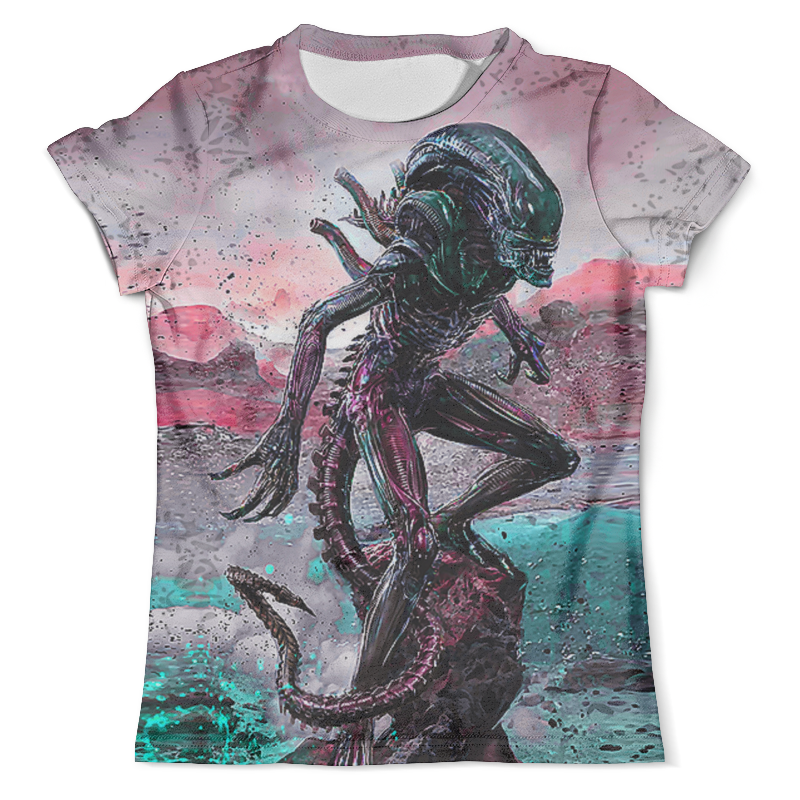 Футболка с полной запечаткой (мужская) Printio Alien design (color) slogan alien print water color tee