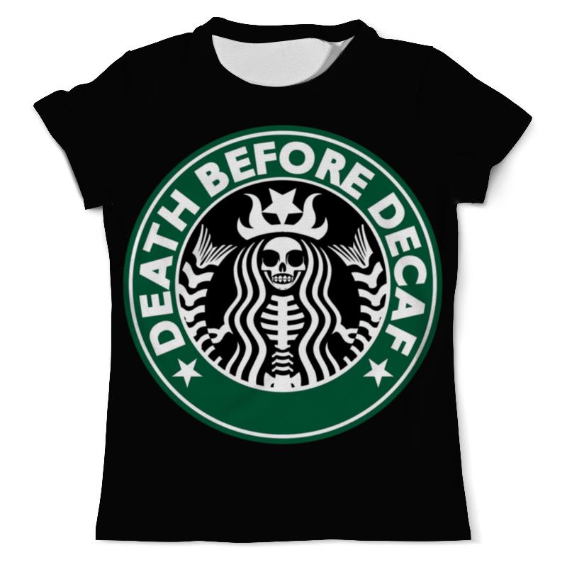 Футболка с полной запечаткой (мужская) Printio Starbucks / death before decaf
