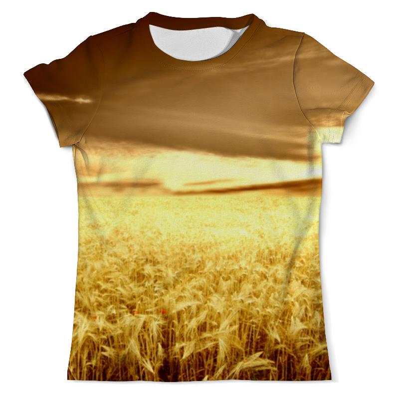 Футболка с полной запечаткой (мужская) Printio Золотые колосья пшеницы при свете закатного солнца