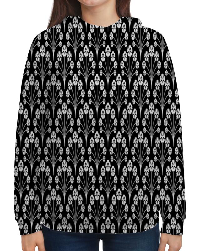 Толстовка с полной запечаткой Printio Цветы черно-белые