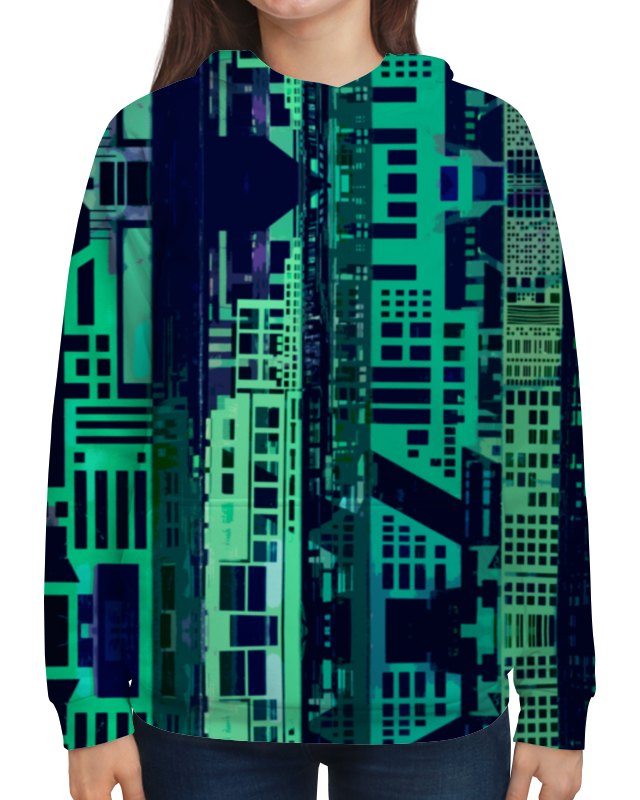 Толстовка с полной запечаткой Printio город будущего бомбер printio город будущего