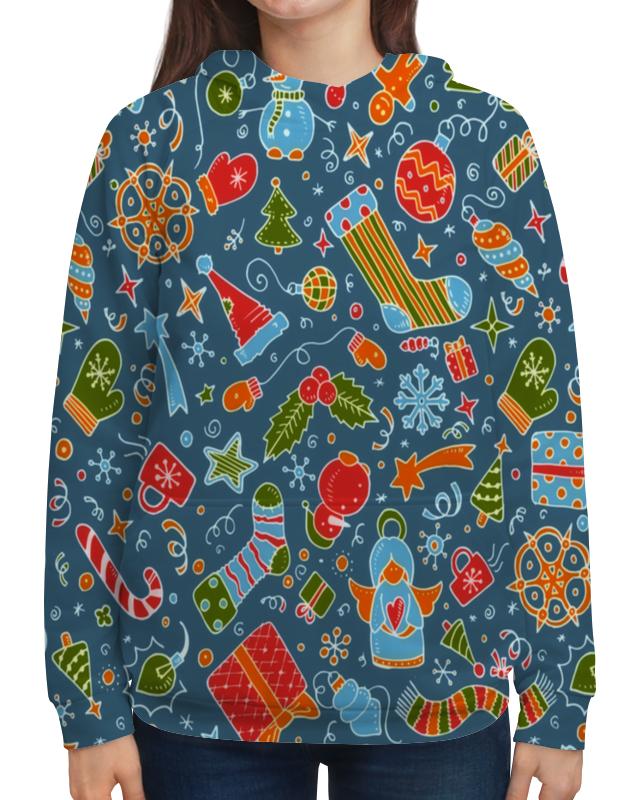 Толстовка с полной запечаткой Printio Новогодние игрушки