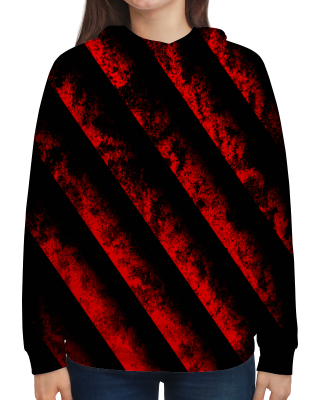 Толстовка с полной запечаткой Printio Черно-красные полосы bebendorff ботинки зимние карл черно красные