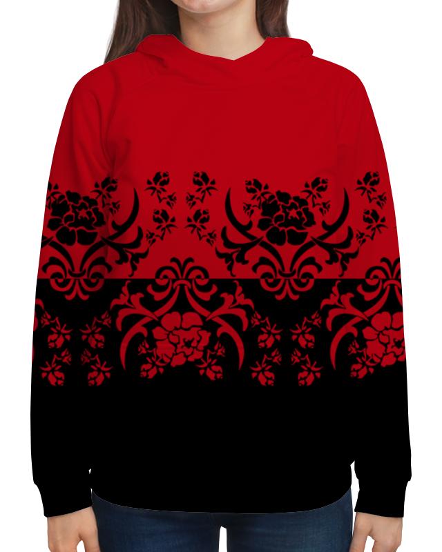 Толстовка с полной запечаткой Printio Красно-черный корсет с черным узором 42 44
