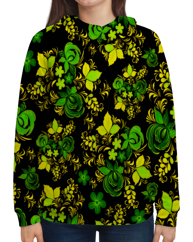 где купить Толстовка с полной запечаткой Printio Зеленый узор по лучшей цене