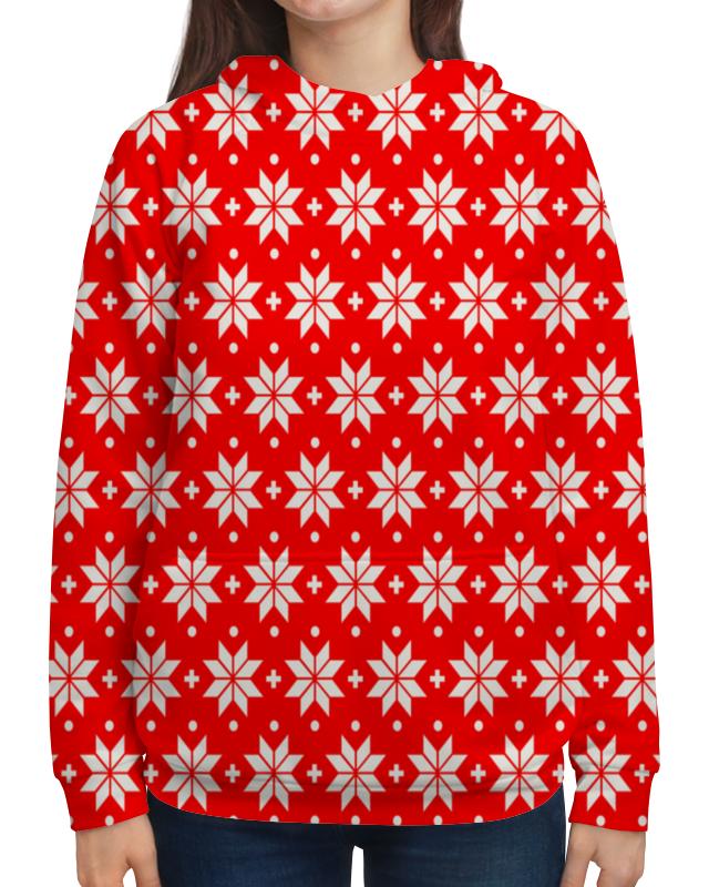 Толстовка с полной запечаткой Printio Красно-белый узор футболка с полной запечаткой для девочек printio красно белый узор