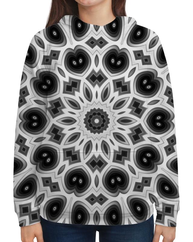 Толстовка с полной запечаткой Printio Черно-белая мандала маска с перьями черно белая