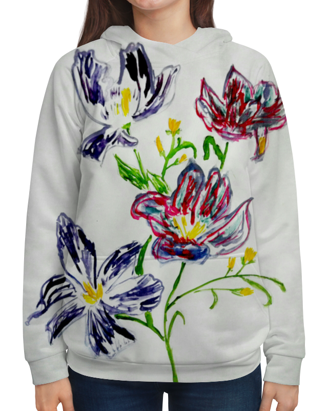 Толстовка с полной запечаткой Printio Лиловые цветы