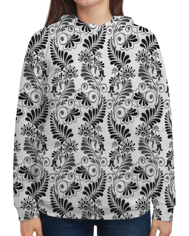 Толстовка с полной запечаткой Printio Черно белая роспись цена