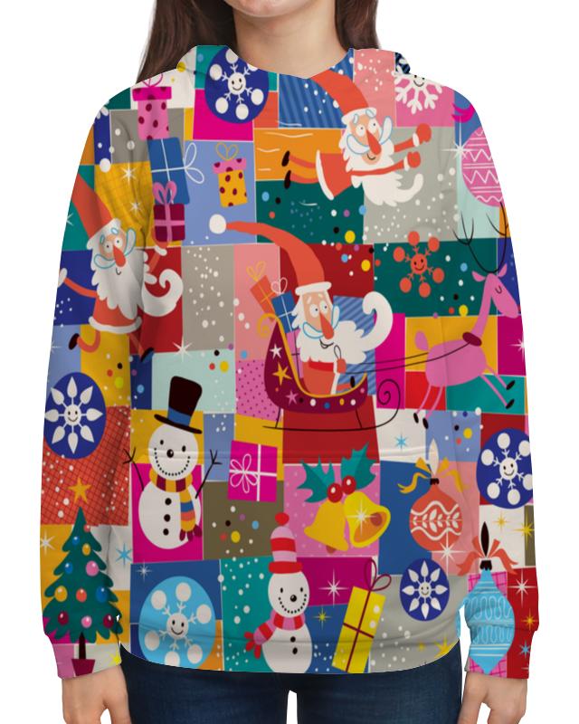 Толстовка с полной запечаткой Printio Санта и подарки сумка printio подарки