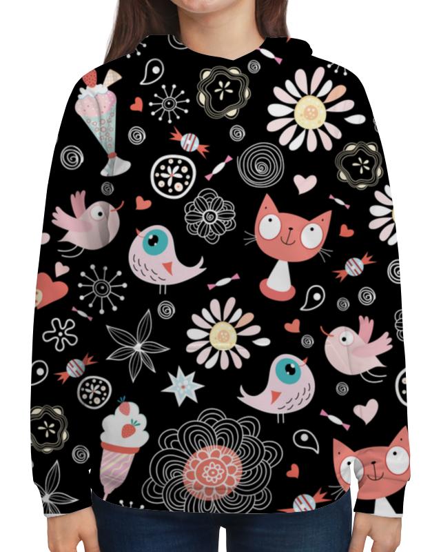 Толстовка с полной запечаткой Printio Коты и птички подушка 40х40 с полной запечаткой printio коты и птички