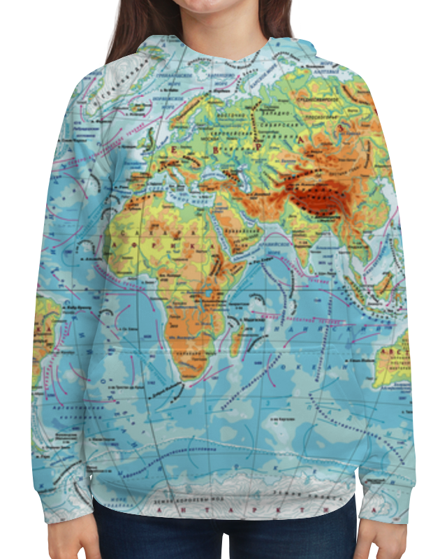 Толстовка с полной запечаткой Printio Карта мира