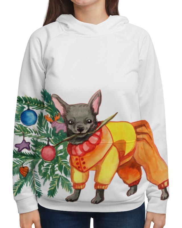Толстовка с полной запечаткой Printio Акварельная новогодняя забавная собака рубашка поло с полной запечаткой printio акварельная новогодняя забавная собака
