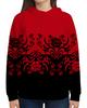 """Толстовка с полной запечаткой """"Красно-черный"""" - цветы, узор, черный, красный, орнамент"""