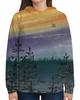 """Толстовка с полной запечаткой """"Небо цвета заката"""" - лес, пейзаж, вечер, север, сосны"""