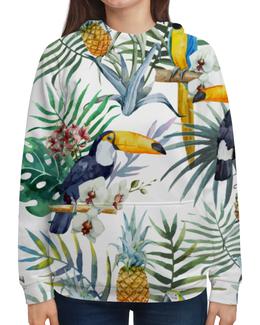 """Толстовка с полной запечаткой """"Пеликан и ананасы"""" - красиво, птицы, природа, ананас, пеликан"""