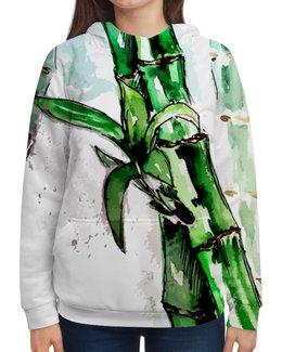 """Толстовка с полной запечаткой """"Лови дзен"""" - ярко, растения, иллюстрация, акварель, бамбук"""