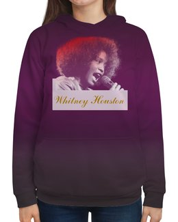 """Толстовка с полной запечаткой """"Whitney Houston (певица)"""" - певица, вишня, английский, уитни хьюстон, whitney houston"""