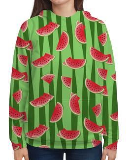 """Толстовка с полной запечаткой """"Арбуз"""" - полоска, ягода, зеленый, семена, дольки"""