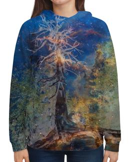 """Толстовка с полной запечаткой """"Космическая сосна"""" - голубой, космос, лес, синий, дерево"""