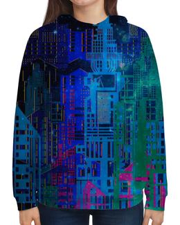"""Толстовка с полной запечаткой """"Космический город"""" - космос, графика, геометрия, небоскребы, мегаполис"""