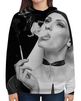 """Толстовка с полной запечаткой """"Woman (девушка)"""" - крест, woman, кинозвезда, сексуальность, девушка с сигаретой"""