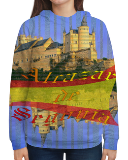 """Толстовка с полной запечаткой (Женская) """"Средневековой испанский замок Сеговия."""" - голубой, испания, полоски, крепость, испанский флаг"""