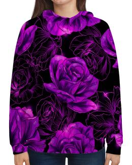 """Толстовка с полной запечаткой """"Розы в цвету"""" - цветы, фиолетовый, весна, цветочки, розы"""