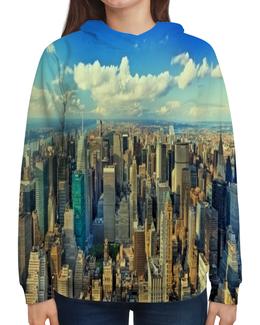 """Толстовка с полной запечаткой """"Megapolis"""" - страны, города, облака, дома, мегаполис"""