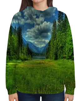 """Толстовка с полной запечаткой """"Горный пейзаж"""" - лес, небо, природа, трава, озеро"""