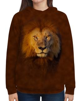 """Толстовка с полной запечаткой """"Лев    """" - кошка, хищник, африка, лев, грива"""