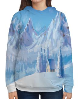 """Толстовка с полной запечаткой """"Зимний пейзаж"""" - зима, снег, картина, природа, пейзаж"""