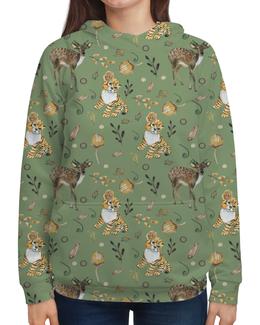 """Толстовка с полной запечаткой """"Лесные жители"""" - олененок, природа, цветы, тигр, котенок"""