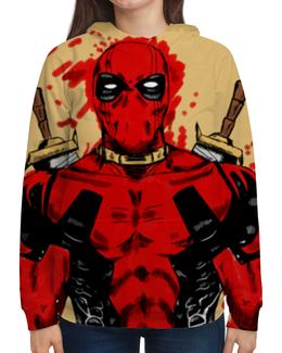 """Толстовка с полной запечаткой """"Deadpool"""" - кровь, маска, костюм, дэдпул, катаны"""