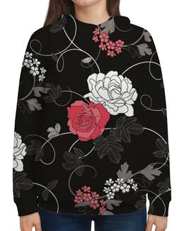 """Толстовка с полной запечаткой """"Красная и белая розы"""" - цветы, белое, красное, розы"""