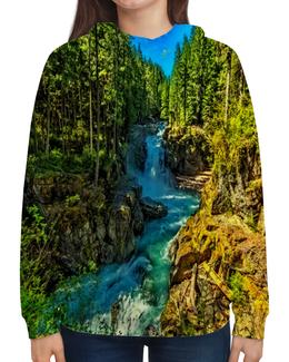 """Толстовка с полной запечаткой """"Лесной пейзаж"""" - природа, горы, река, деревья, пейзаж"""