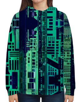 """Толстовка с полной запечаткой (Женская) """"""""Город будущего"""" """" - зеленый, синий, киберпанк, небоскребы, мегаполис"""