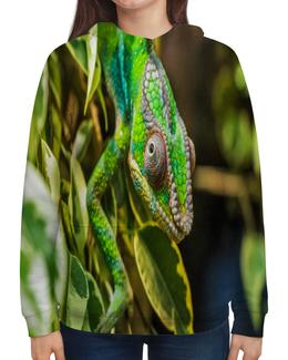 """Толстовка с полной запечаткой """"Хамелеон на дереве"""" - животные, зеленый, природа, ящерица, хамелеон"""