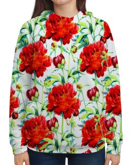"""Толстовка с полной запечаткой """"Пионы"""" - цветы, весна, цветные, цветочки, пионы"""