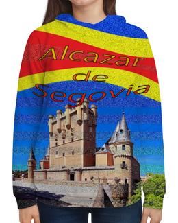 """Толстовка с полной запечаткой (Женская) """"Замки Испании. Замок Сеговия."""" - голубой, испания, полоски, крепость, испанский флаг"""