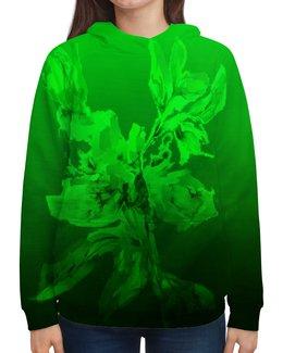 """Толстовка с полной запечаткой """"Альстромерия. Фантазия"""" - живопись, зеленый, цветок, акварелью, нежный"""