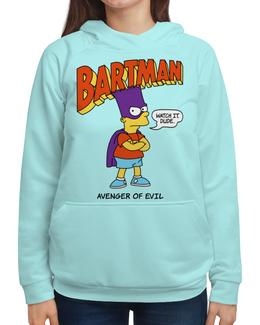 """Толстовка с полной запечаткой (Женская) """"Бартмен"""" - прикольные, супергерои, симпсоны, барт симпсон, бартмен"""