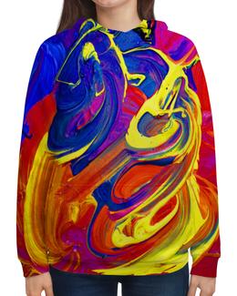 """Толстовка с полной запечаткой (Женская) """"Яркие краски"""" - разноцветный, яркий, хиппи, краска, пестрый"""